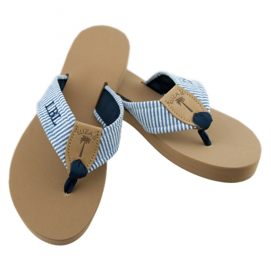 fea3baa9ed11 Monogrammed Seersucker Sandals  Eliza B   Leather Man Ltd