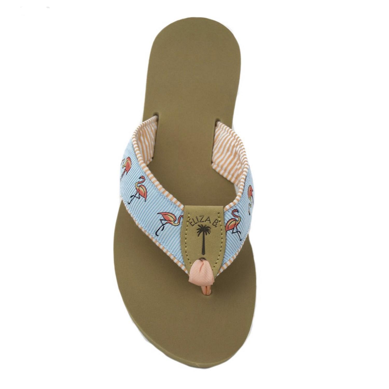 235dc6c48 Peach Seersucker Fabric Sandal with Flamingo Flock Ribbon Motif and Peach  Toe Ribbon  Eliza B   Leather Man Ltd