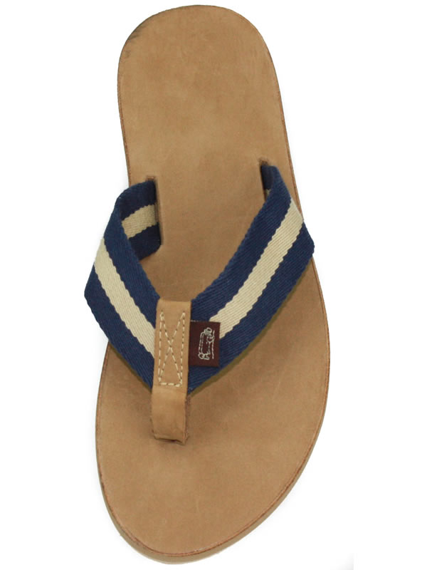 1951fd8895158e Khaki and Navy Striped Surcingle with a Leather Toe and a Leather Drifter  Sole