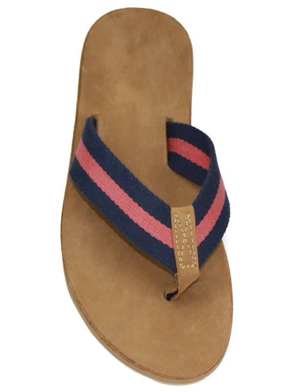 d271ce25c10536 Sail Red and Navy Striped Surcingle with Leather Toe and Leather Drifter  Sole