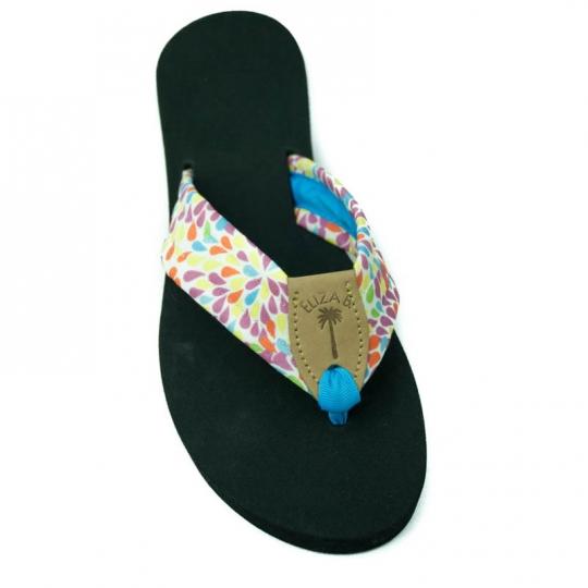 20a6e3845 Fireworks Fabric Sandal with Island Blue Toe   Tan EB Peanut  Eliza B    Leather Man Ltd