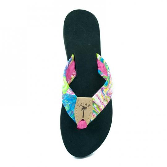 f580cfbee Wavelengths Fabric Sandal with Hot Pink Toe   Tan EB Peanut  Eliza B    Leather Man Ltd