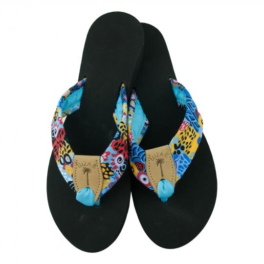 74bb3d4d3a900 Blue Jazz Fabric Sandal with Tan EB Peanut   Turquoise Toe Ribbon  Eliza B    Leather Man Ltd