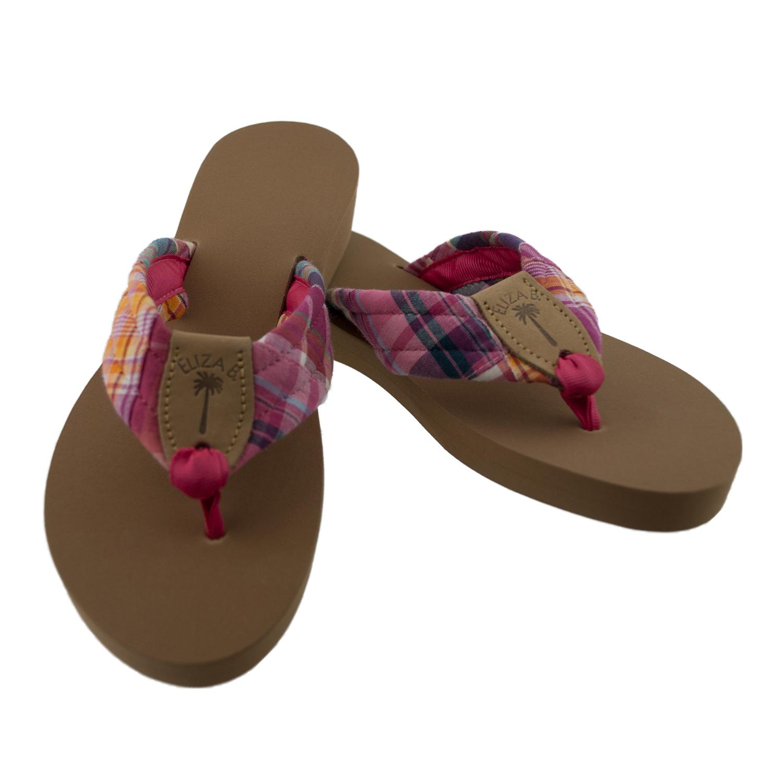 eea519da1624c Chilmark Madras Fabric Sandals with Watermelon Toe Ribbon  Eliza B    Leather Man Ltd