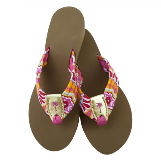 a7598c8bd60e5 Temple Tiles Berry Fabric Sandal with Gold Peanut  Eliza B   Leather Man Ltd