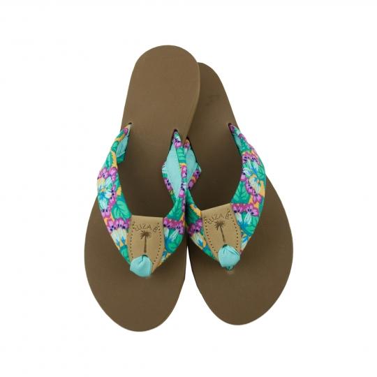 c23daefafcc2a Valentino Swing Fabric Sandal with Tan EB Peanut   Aqua Toe Ribbon  Eliza B    Leather Man Ltd