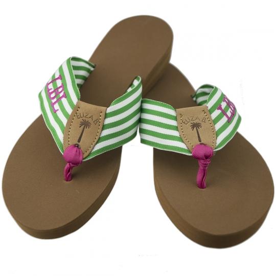 Monogrammed Grosgrain Sandal  Eliza B   Leather Man Ltd 017071daba9a